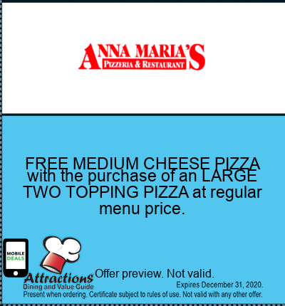 FREE MEDIUM CHEESE PIZZA with the purchase of an LARGE TWO TOPPING PIZZA at regular menu price.
