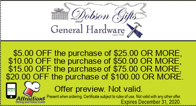 $5.00 OFF the purchase of $25.00 OR MORE, $10.00 OFF the purchase of $50.00 OR MORE, $15.00 OFF the purchase of $75.00 OR MORE, $20.00 OFF the purchase of $100.00 OR MORE.