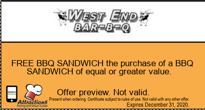 FREE BBQ SANDWICH the purchase of a BBQ SANDWICH of equal or greater value.