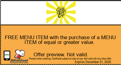 FREE MENU ITEM with the purchase of a MENU ITEM of equal or greater value.