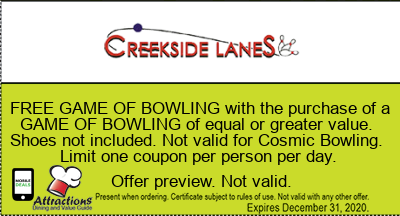FREE GAME OF BOWLING with the purchase of a GAME OF BOWLING of equal or greater value. Shoes not included. Not valid for Cosmic Bowling. Limit one coupon per person per day.