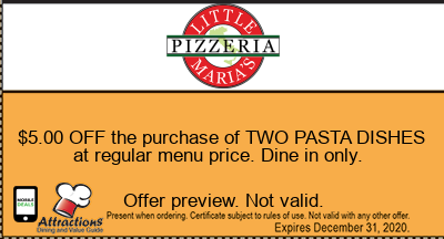 $5.00 OFF the purchase of TWO PASTA DISHES at regular menu price. Dine in only.