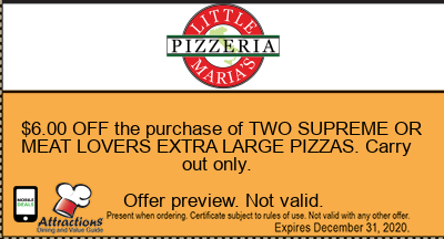 $6.00 OFF the purchase of TWO SUPREME OR MEAT LOVERS EXTRA LARGE PIZZAS. Carry out only.