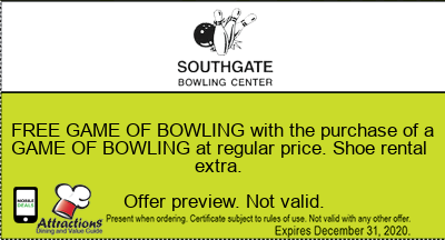 FREE GAME OF BOWLING with the purchase of a GAME OF BOWLING at regular price. Shoe rental extra.