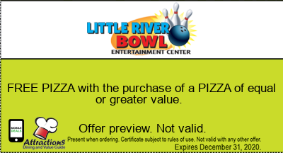 FREE PIZZA with the purchase of a PIZZA of equal or greater value.