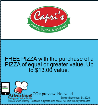 FREE PIZZA with the purchase of a PIZZA of equal or greater value. Up to $13.00 value.