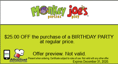 $25.00 OFF the purchase of a BIRTHDAY PARTY at regular price.