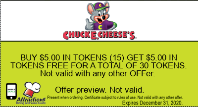 BUY $5.00 IN TOKENS (15) GET $5.00 IN TOKENS FREE FOR A TOTAL OF 30 TOKENS. Not valid with any other offer.