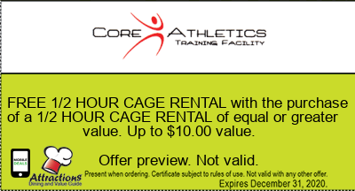 FREE 1/2 HOUR CAGE RENTAL with the purchase of a 1/2 HOUR CAGE RENTAL of equal or greater value. Up to $10.00 value.