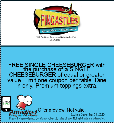 FREE SINGLE CHEESEBURGER with the purchase of a SINGLE CHEESEBURGER of equal or greater value. Limit one coupon per table. Dine in only. Premium toppings extra.