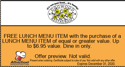 FREE LUNCH MENU ITEM with the purchase of a LUNCH MENU ITEM of equal or greater value. Up to $6.95 value. Dine in only.