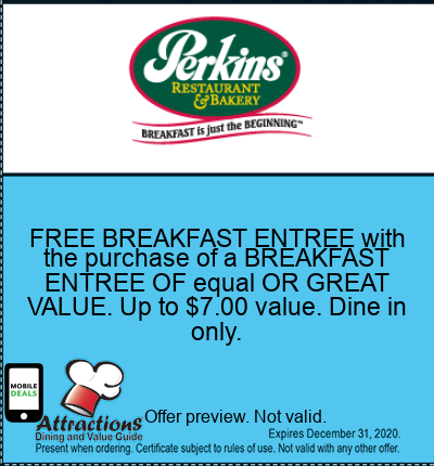 FREE BREAKFAST ENTREE with the purchase of a BREAKFAST ENTREE OF equal OR GREAT VALUE. Up to $7.00 value. Dine in only.