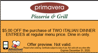$5.00 OFF the purchase of TWO ITALIAN DINNER ENTREES at regular menu price. Dine in only.