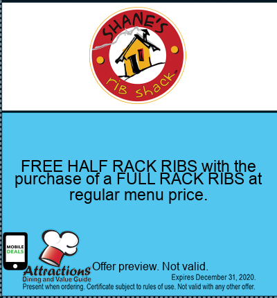 FREE HALF RACK RIBS with the purchase of a FULL RACK RIBS at regular menu price.