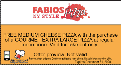 FREE MEDIUM CHEESE PIZZA with the purchase of a GOURMET EXTRA LARGE PIZZA at regular menu price. Vaid for take out only.