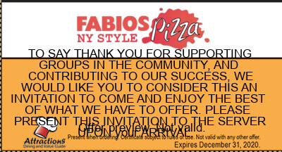 TO SAY THANK YOU FOR SUPPORTING GROUPS IN THE COMMUNITY, AND CONTRIBUTING TO OUR SUCCESS, WE WOULD LIKE YOU TO CONSIDER THIS AN INVITATION TO COME AND ENJOY THE BEST OF WHAT WE HAVE TO OFFER. PLEASE PRESENT THIS INVITATION TO THE SERVER UPON your ARRIVAL.