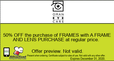 50% OFF the purchase of FRAMES with A FRAME AND LENS PURCHASE at regular price.