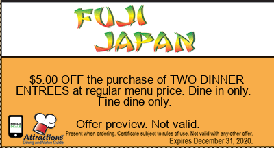 $5.00 OFF the purchase of TWO DINNER ENTREES at regular menu price. Dine in only. Fine dine only.