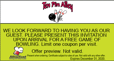 WE LOOK FORWARD TO HAVING YOU AS OUR GUEST. PLEASE PRESENT THIS INVITATION UPON ARRIVAL FOR A FREE GAME OF BOWLING. Limit one coupon per visit.