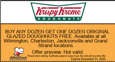 BUY ANY DOZEN GET ONE DOZEN ORIGINAL GLAZED DOUGHNUTS FREE. Available at all Wilmington, Charleston, Jacksonville and Grand Strand locations.