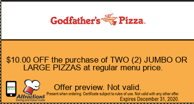 $10.00 OFF the purchase of TWO (2) JUMBO OR LARGE PIZZAS at regular menu price.