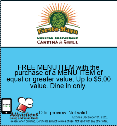 FREE MENU ITEM with the purchase of a MENU ITEM of equal or greater value. Up to $5.00 value. Dine in only.