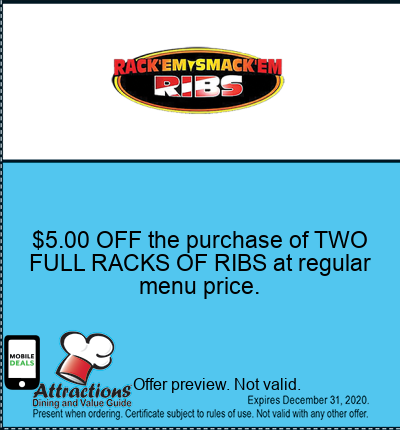 $5.00 OFF the purchase of TWO FULL RACKS OF RIBS at regular menu price.