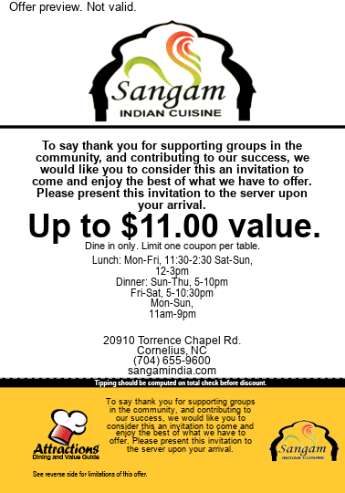 To say thank you for supporting groups in the community, and contributing to our success, we would like you to consider this an invitation to come and enjoy the best of what we have to offer. please present this invitation to the server upon your arrival. Up to $11.00 value. Dine in only. Limit one coupon per table.