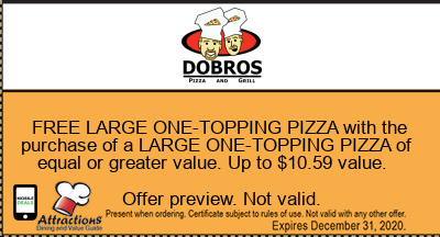FREE LARGE ONE-TOPPING PIZZA with the purchase of a LARGE ONE-TOPPING PIZZA of equal or greater value. Up to $10.59 value.