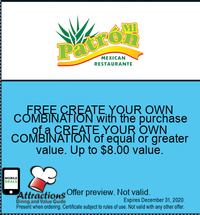 FREE CREATE YOUR OWN COMBINATION with the purchase of a CREATE YOUR OWN COMBINATION of equal or greater value. Up to $8.00 value.