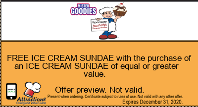 FREE ICE CREAM SUNDAE with the purchase of an ICE CREAM SUNDAE of equal or greater value.