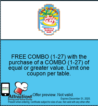 FREE COMBO (1-27) with the purchase of a COMBO (1-27) of equal or greater value. Limit one coupon per table.