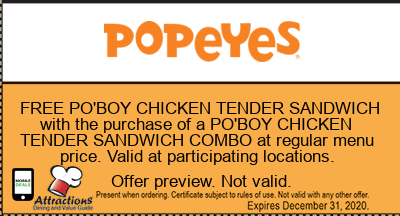 FREE PO'BOY CHICKEN TENDER SANDWICH with the purchase of a PO'BOY CHICKEN TENDER SANDWICH COMBO at regular menu price. Valid at participating locations.