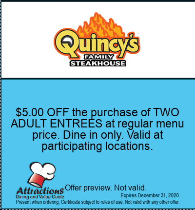 $5.00 OFF the purchase of TWO ADULT ENTREES at regular menu price. Dine in only. Valid at participating locations.