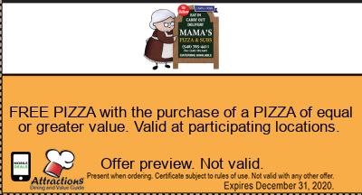 FREE PIZZA with the purchase of a PIZZA of equal or greater value. Valid at participating locations.