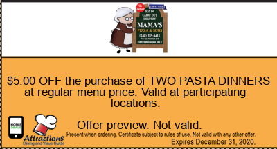 $5.00 OFF the purchase of TWO PASTA DINNERS at regular menu price. Valid at participating locations.