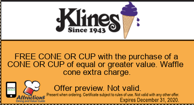 FREE CONE OR CUP with the purchase of a CONE OR CUP of equal or greater value. Waffle cone extra charge.