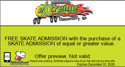 FREE SKATE ADMISSION with the purchase of a SKATE ADMISSION of equal or greater value.
