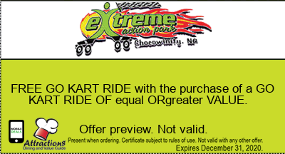 FREE GO KART RIDE with the purchase of a GO KART RIDE OF equal ORgreater VALUE.