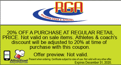 20% OFF A PURCHASE AT REGULAR RETAIL PRICE. Not valid on sale items. Athletes & coach's discount will be adjusted to 20% at time of purchase with this coupon.