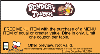 FREE MENU ITEM with the purchase of a MENU ITEM of equal or greater value. Dine in only. Limit one coupon per table.