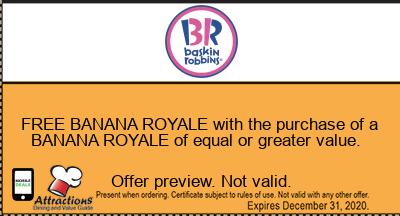 FREE BANANA ROYALE with the purchase of a BANANA ROYALE of equal or greater value.