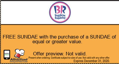 FREE SUNDAE with the purchase of a SUNDAE of equal or greater value.