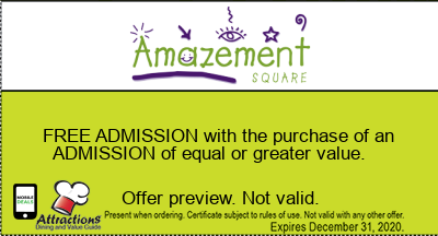 FREE ADMISSION with the purchase of an ADMISSION of equal or greater value.