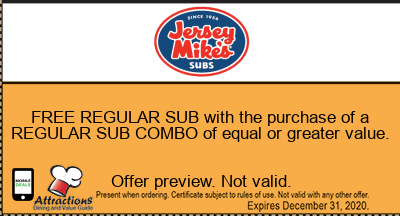 FREE REGULAR SUB with the purchase of a REGULAR SUB COMBO of equal or greater value.