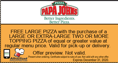 FREE LARGE PIZZA with the purchase of a LARGE OR EXTRA-LARGE TWO OR MORE TOPPING PIZZA of equal or greater value at regular menu price. Valid for pick-up or delivery.