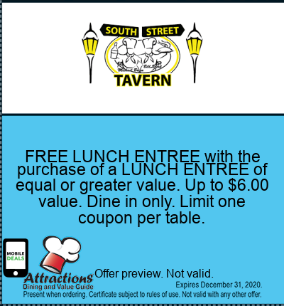 FREE LUNCH ENTREE with the purchase of a LUNCH ENTREE of equal or greater value. Up to $6.00 value. Dine in only. Limit one coupon per table.
