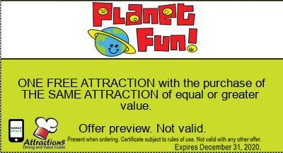 ONE FREE ATTRACTION with the purchase of THE SAME ATTRACTION of equal or greater value.