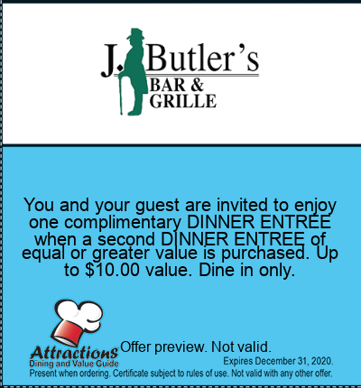 You and your guest are invited to enjoy one complimentary DINNER ENTREE when a second DINNER ENTREE of equal or greater value is purchased. Up to $10.00 value. Dine in only.