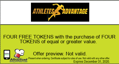 FOUR FREE TOKENS with the purchase of FOUR TOKENS of equal or greater value.